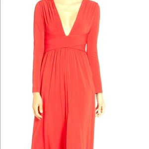 Halston Heritage V Neck Wrap Gown Scarlet Red